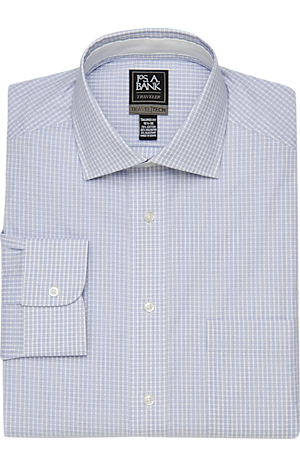 Men's Clearance, Travel Tech Collection Tailored Fit Spread Collar Check Dress Shirt CLEARANCE - Jos A Bank