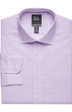 Travel Tech Tailored Fit Spread Collar Windowpane Grid Dress Shirt