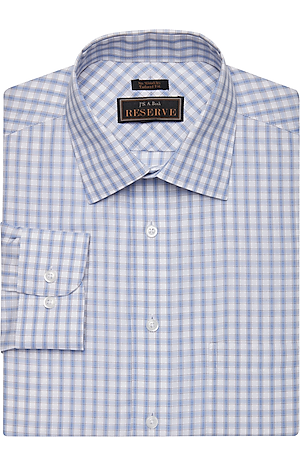 Men's Clearance, Reserve Collection Tailored Fit Spread Collar Check Dress Shirt CLEARANCE - Jos A Bank