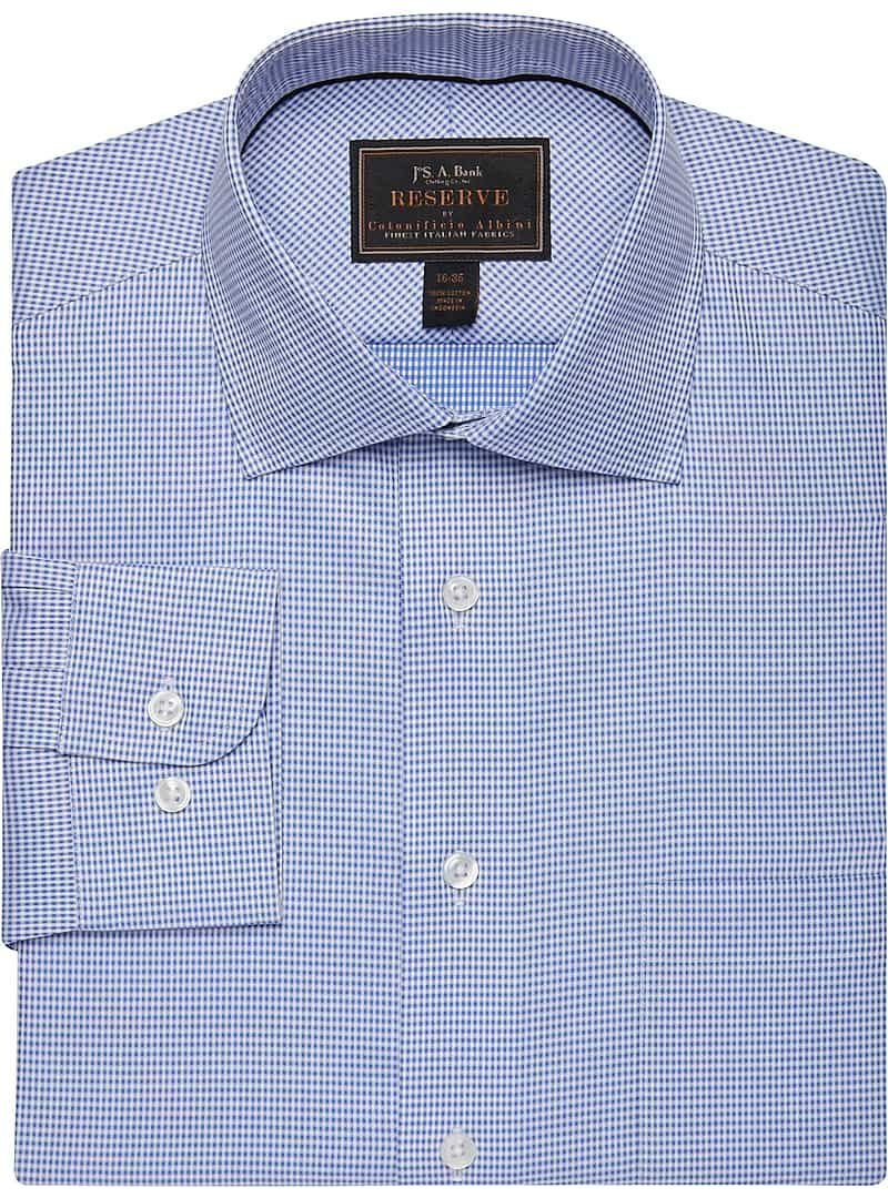 Reserve Collection Tailored Fit Spread Collar Micro Check Dress Shirt
