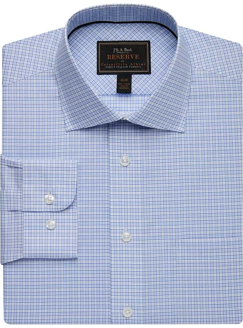 Reserve Collection Tailored Fit Spread Collar Mini Check Dress Shirt