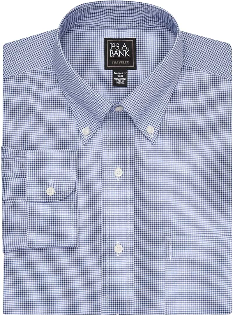 Traveler Collection Tailored Fit Button-Down Collar Mini Check Dress Shirt