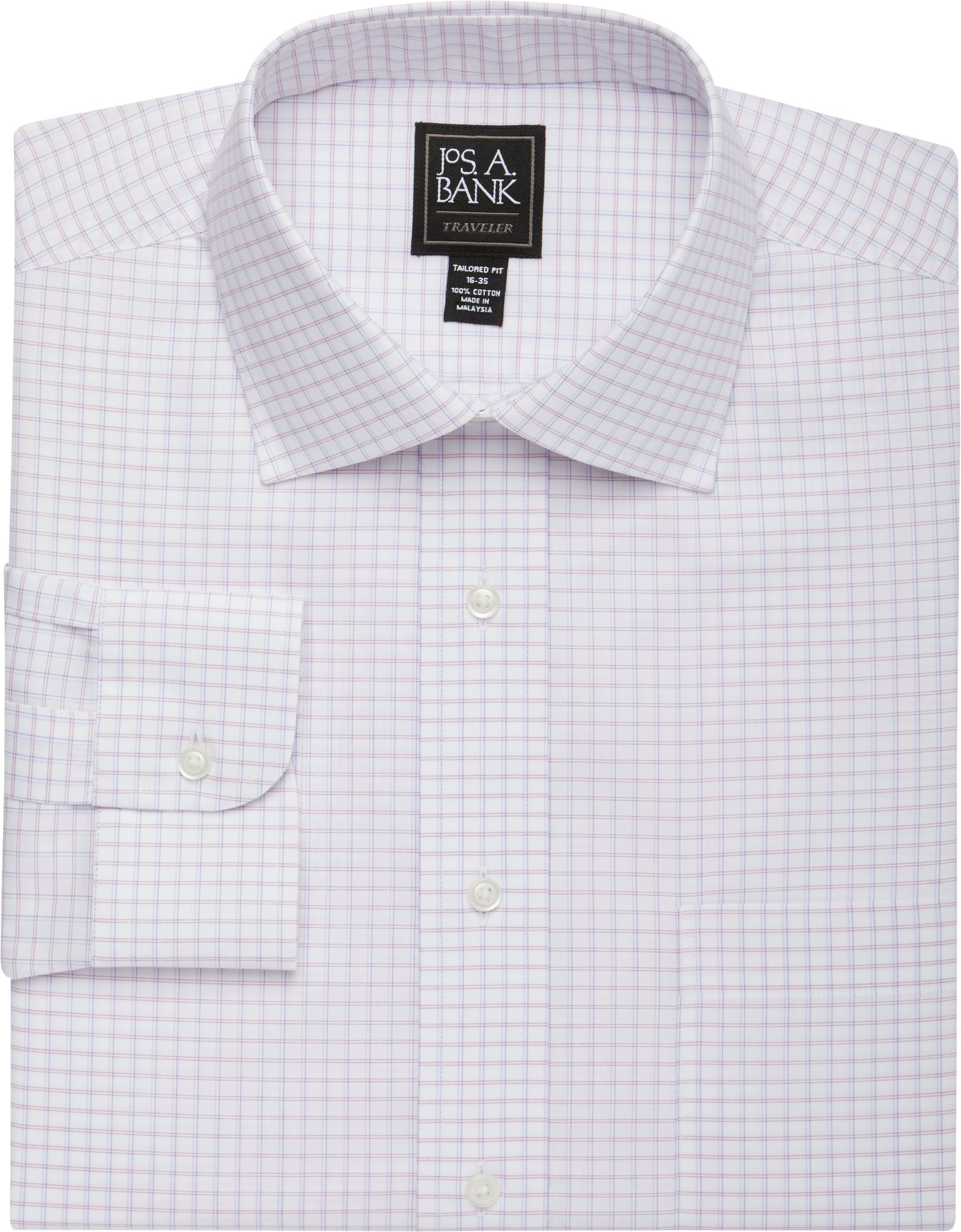 Traveler Collection Tailored Fit Spread Collar Mini Grid Dress Shirt