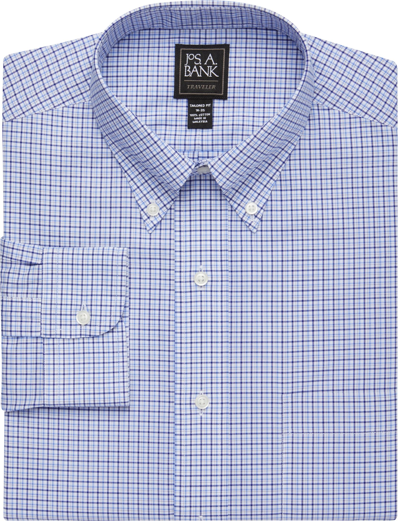 240d3a10471ce5 Traveler Collection Tailored Fit Button-Down Collar Plaid Dress Shirt #53WN