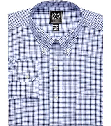 Traveler Collection Tailored Fit Button-Down Collar Plaid Dress Shirt