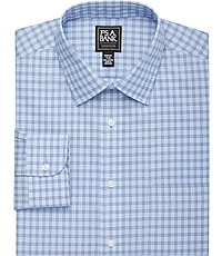 52229319 Traveler Collection Slim Fit Spread Collar Blue Plaid Dress Shirt
