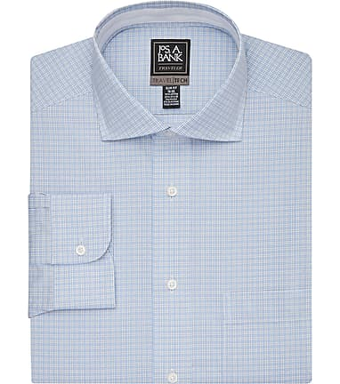 355daa6ec853 Travel Tech Collection Slim Fit Cutaway Collar Mini Check Dress Shirt #53Z2
