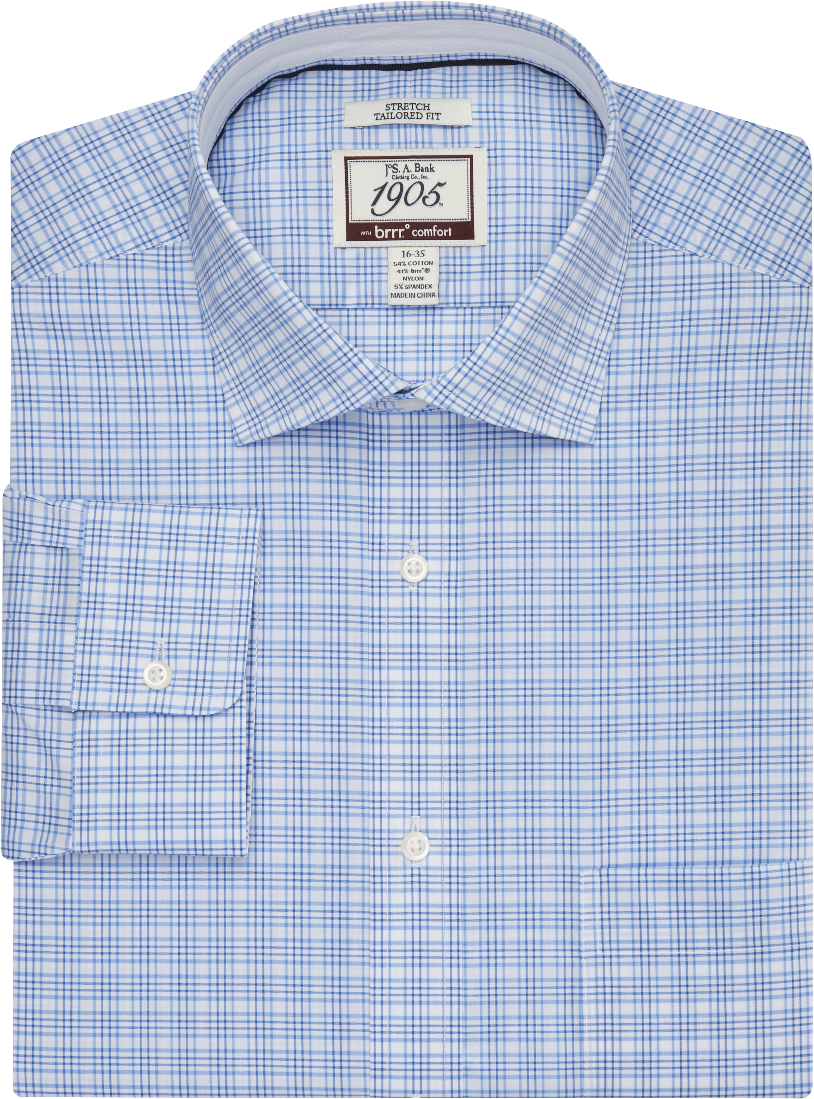 ecaa5789ef 1905 Collection Tailored Fit Spread Collar Tattersall Plaid Dress Shirt  with brrr° comfort