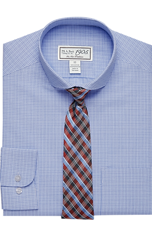 Men's Shirts, 1905 Collection Boys Classic Fit Check Dress Shirt & Plaid Tie Set - Jos A Bank