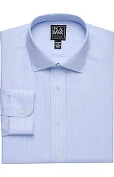 Traveler Collection Tailored Fit Spread Collar Stripe Dress Shirt