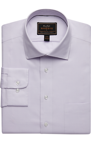 Men's Special Categories, Reserve Collection Tailored Fit Spread Collar Mini Check Dress Shirt - Jos A Bank
