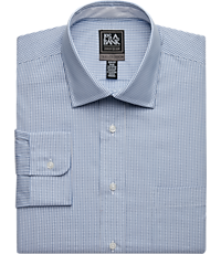 Travel Tech Slim Fit Spread Collar Tattersall Dress Shirt (Grey)