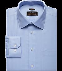 Reserve Collection Slim Fit Spread Collar Herringbone Dress Shirt (Blue / White)