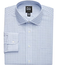 Traveler Collection Tailored Fit Spread Collar Grid Plaid Dress Shirt