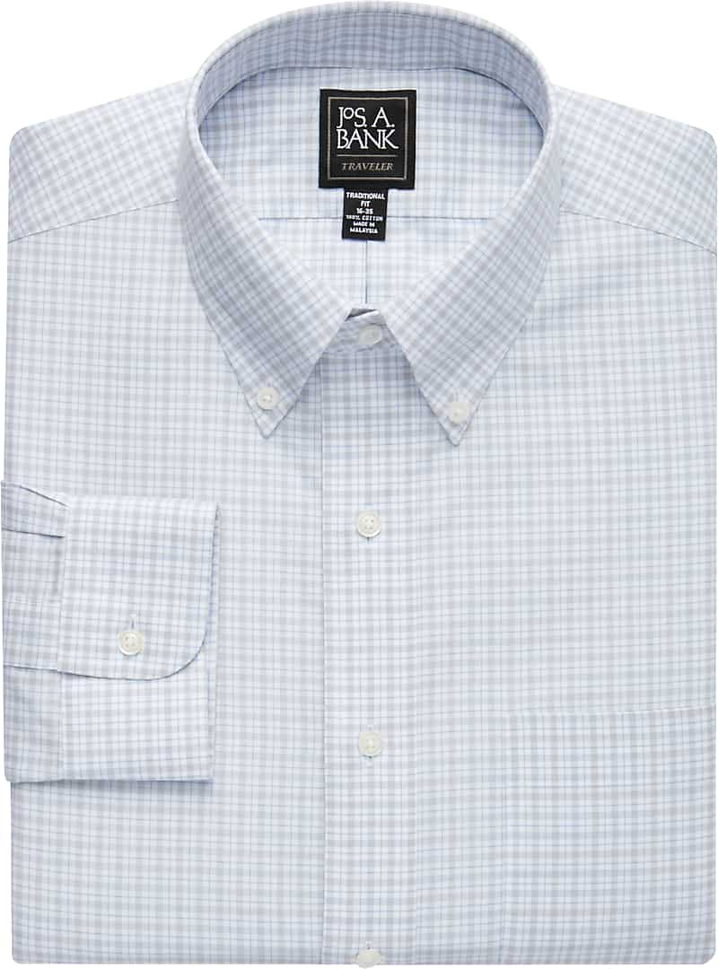 Traveler Collection Traditional Fit Button-Down Collar Plaid Dress Shirt