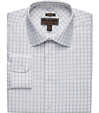 Men's Shirts, Reserve Collection Tailored Fit Spread Collar Grid Dress Shirt - Jos A Bank