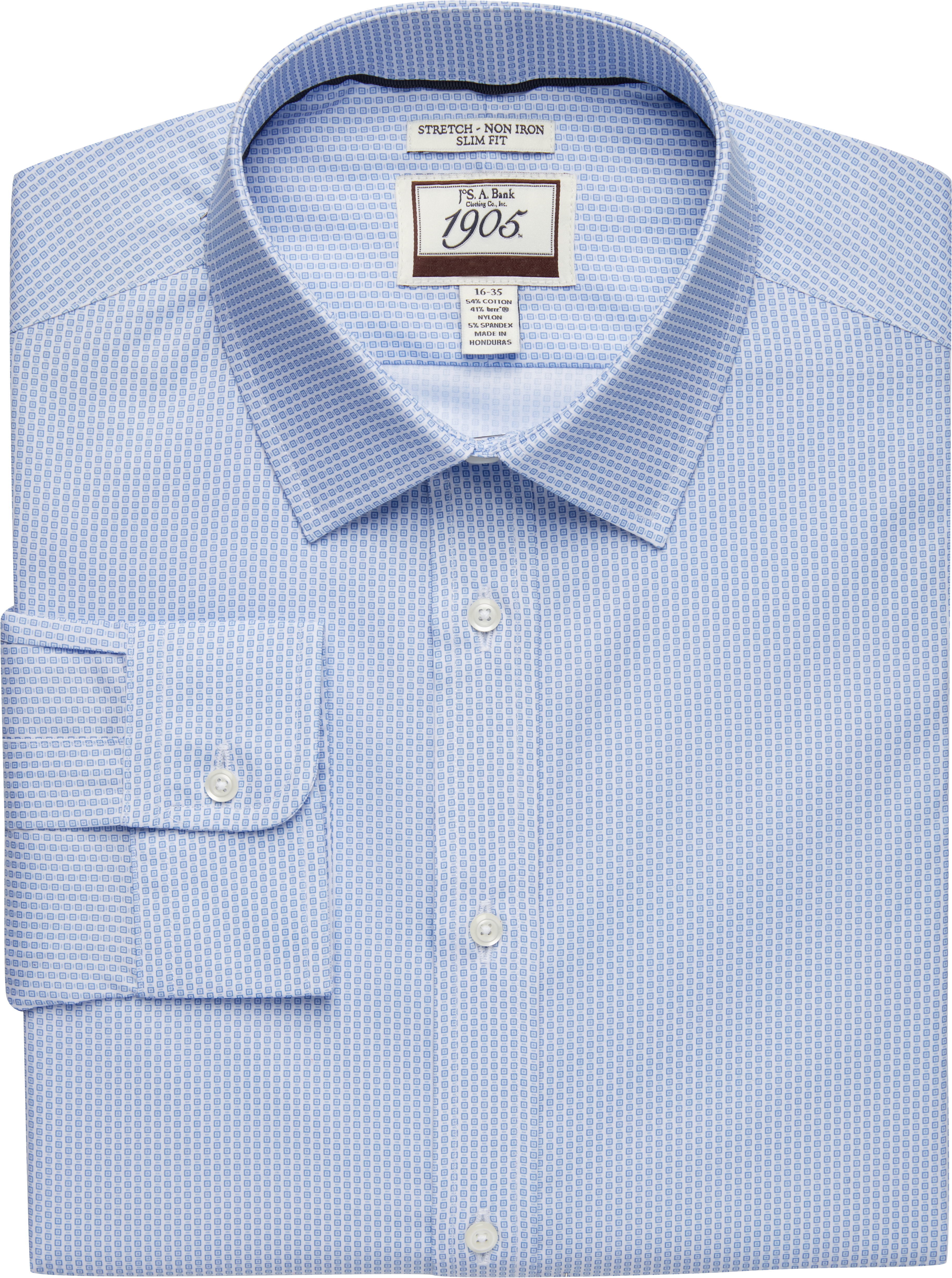 1905 Collection Slim Fit Spread Collar Square Pattern Dress Shirt