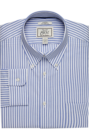Men's Shirts, 1905 Collection Tailored Fit Button-Down Collar Stripe Dress Shirt - Jos A Bank