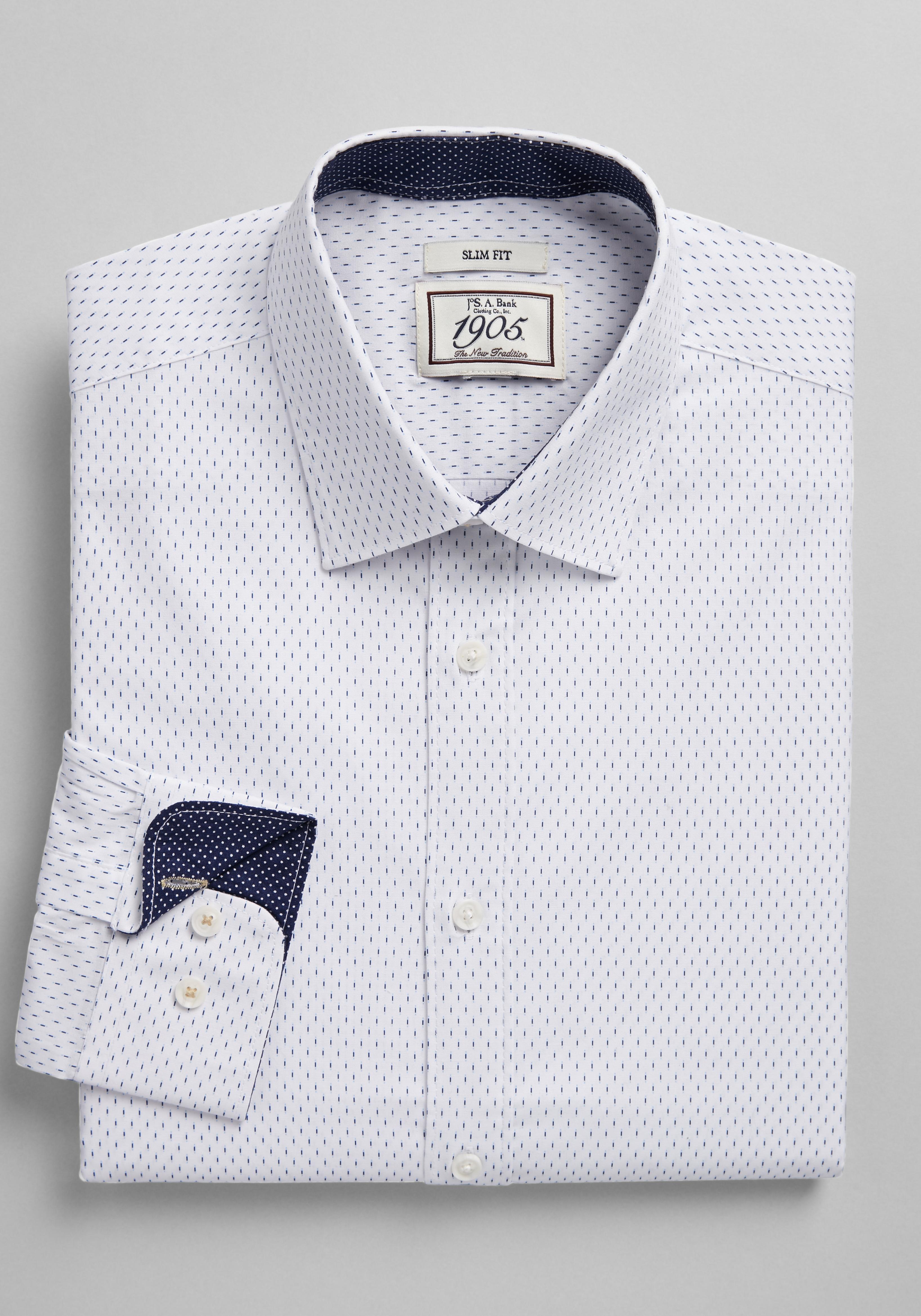 Design Bank Twist.1905 Collection Slim Fit Spread Collar Dash Print Dress Shirt