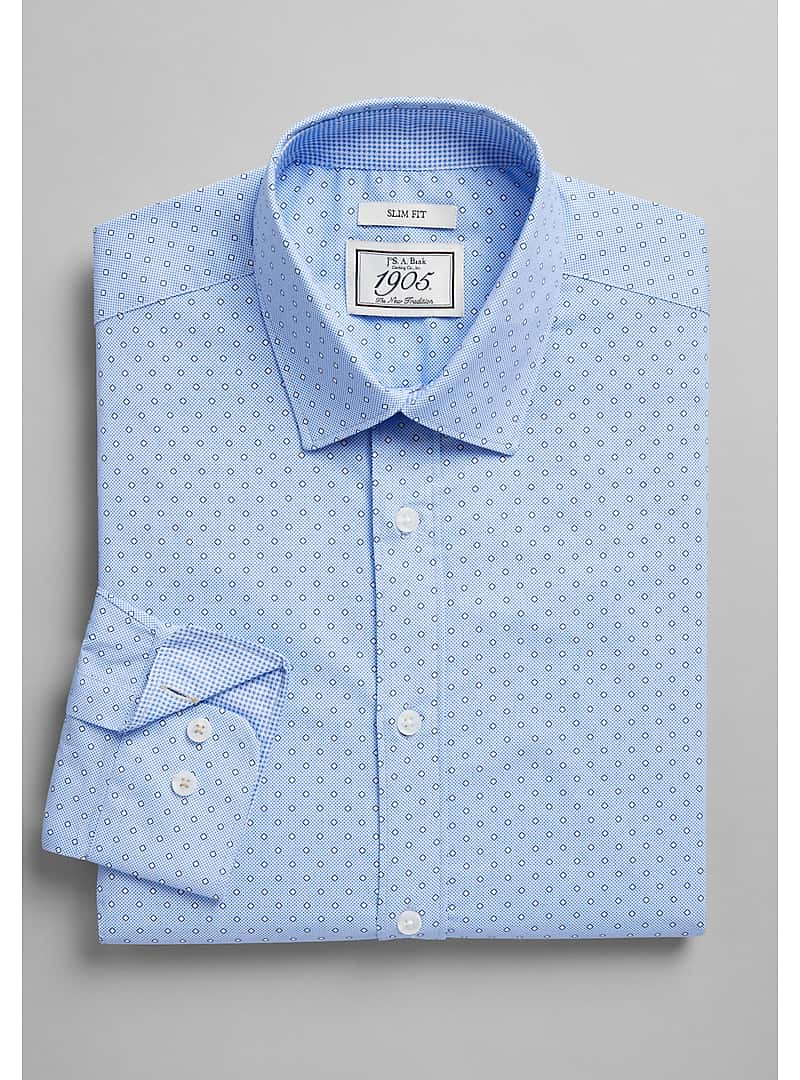 1905 Collection slim fit Spread Collar Circle Dot Dress Shirt