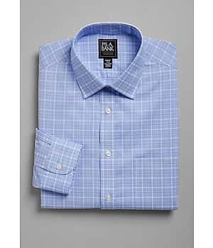 Traveler Collection Slim Fit Spread Collar City Check Dress Shirt