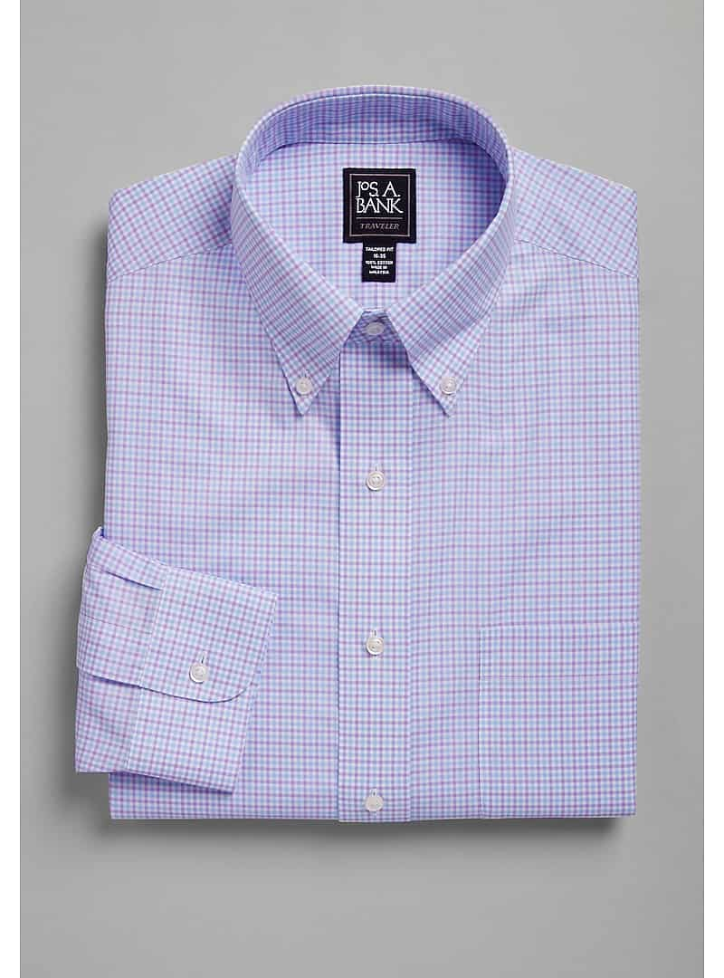 Traveler Collection Tailored Fit Button-Down Collar Check Dress Shirt