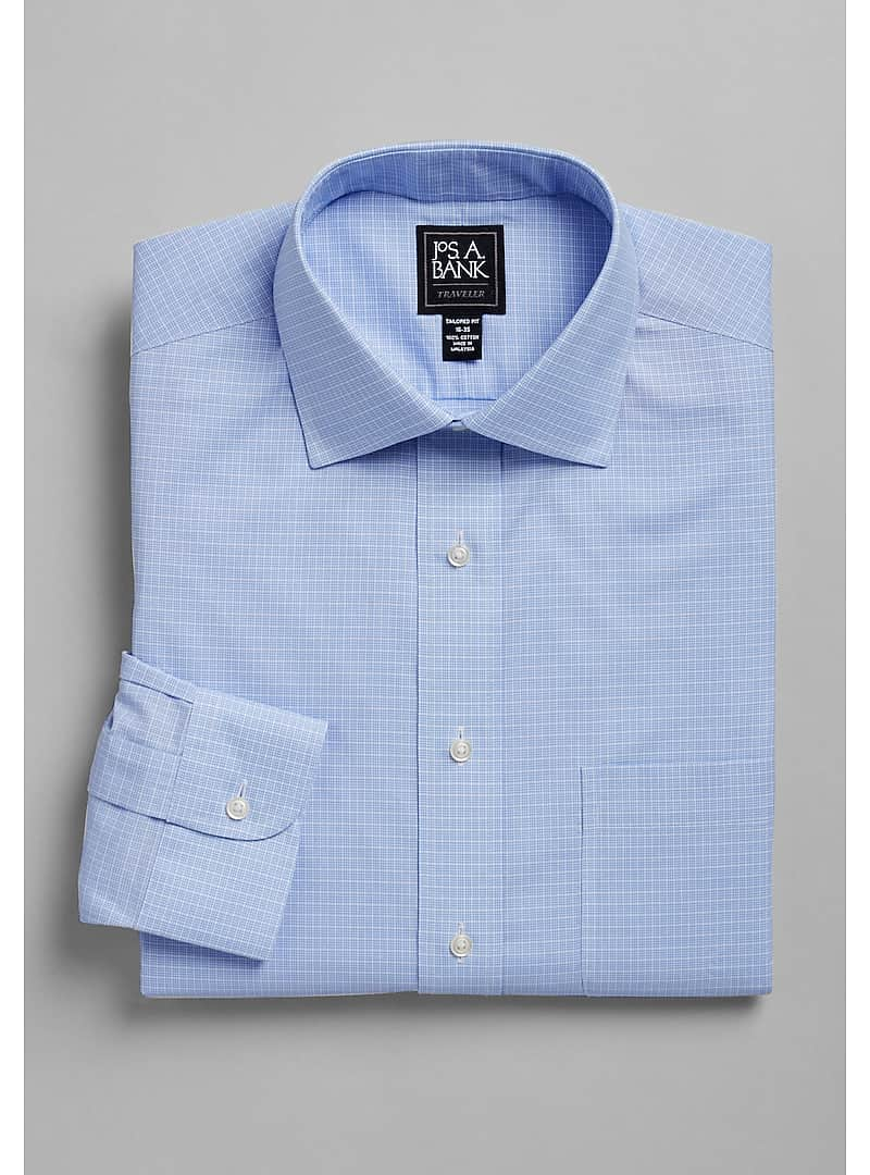 Traveler Collection Tailored Fit Spread Collar Trio Check Dress Shirt - Big & Tall