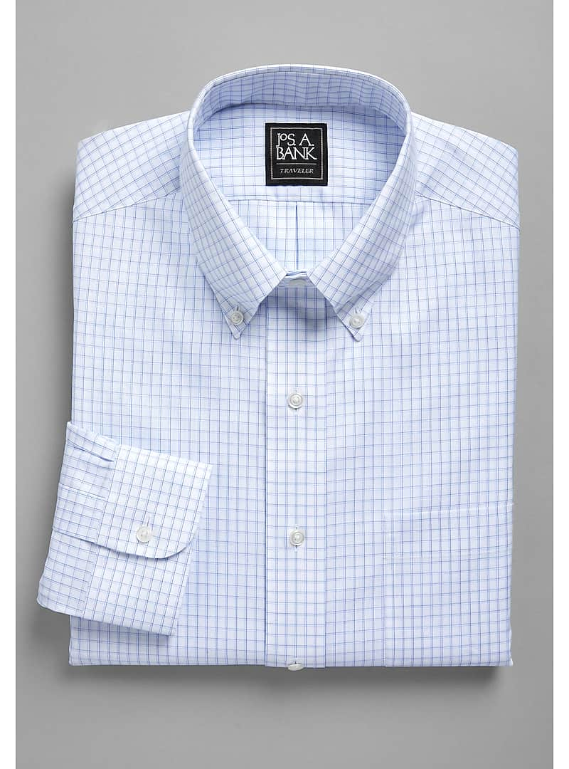 Traveler Collection Traditional Fit Button-Down Collar 3D Grid Dress Shirt