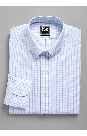 Men's FLYOUT_COLLECTION, Traveler Collection Traditional Fit Button-Down Collar 3D Grid Dress Shirt - Big & Tall - Jos A Bank