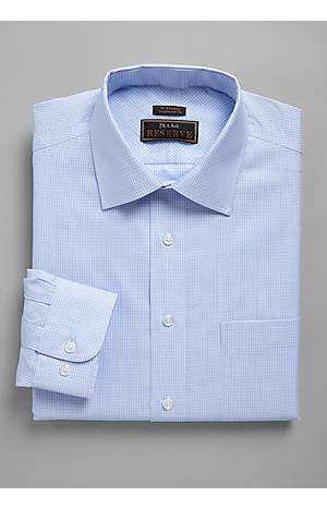 Reserve Collection Traditional Fit Spread Collar Oxford Grid Dress Shirt - Big & Tall