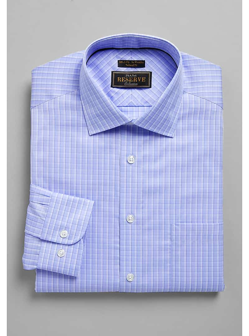 Reserve Collection Tailored Fit Spread Collar Check Dress Shirt - Big & Tall