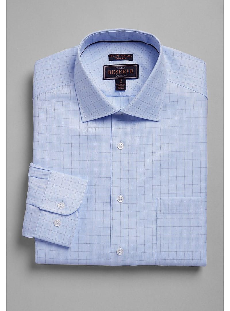 Reserve Collection Tailored Fit Spread Collar Chevron Check Dress Shirt - Big & Tall