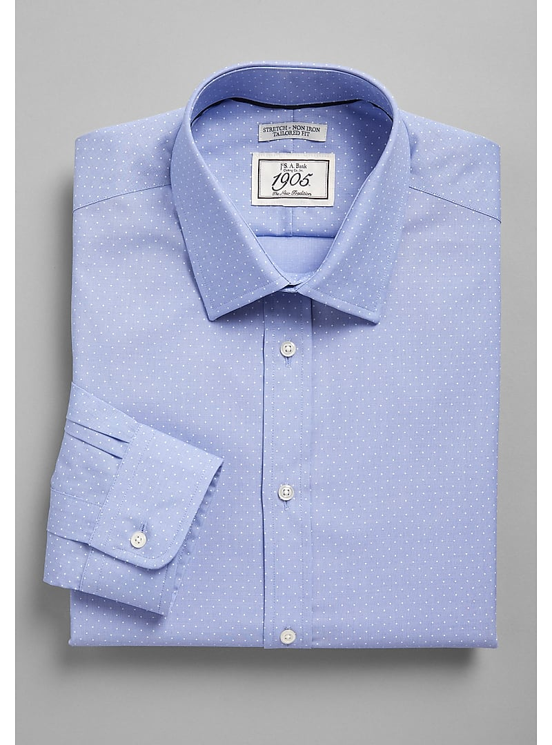 1905 Collection tailored fit Spread Collar Dot Dress Shirt