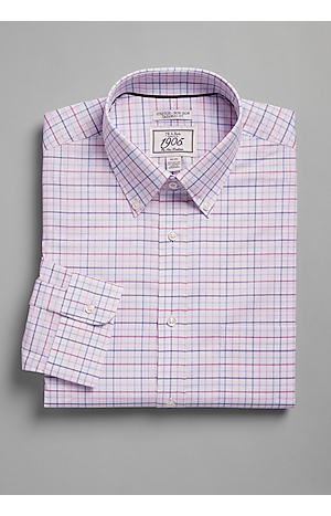 Men's Shirts, 1905 Collection Tailored Fit Button-Down Collar Grid Dress Shirt - Jos A Bank