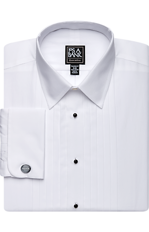 Men's Shirts, Executive Collection Tailored Fit Point Collar French Cuff Formal Dress Shirt - Jos A Bank