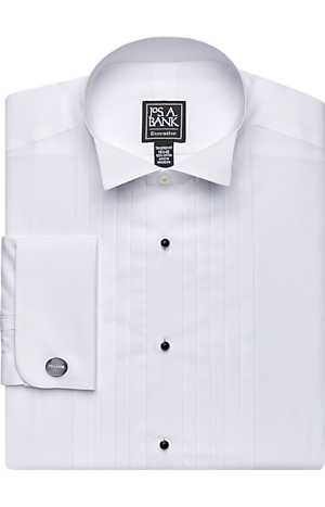 Men's Shirts, Executive Collection Tailored Fit Wing Collar French Cuff Formal Dress Shirt - Jos A Bank