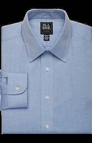 Men's Shirts, Traveler Collection Tailored Fit Point Collar Dress Shirt - Jos A Bank