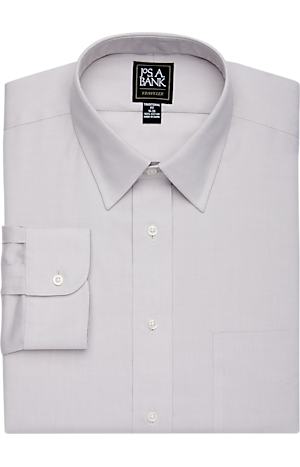 Men's Shirts, Traveler Collection Traditional Fit Point Collar Solid Pinpoint Dress Shirt - Jos A Bank