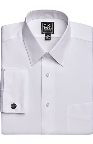 Men's Shirts, Traveler Collection Traditional Fit Point Collar French Cuff Dress Shirt - Jos A Bank
