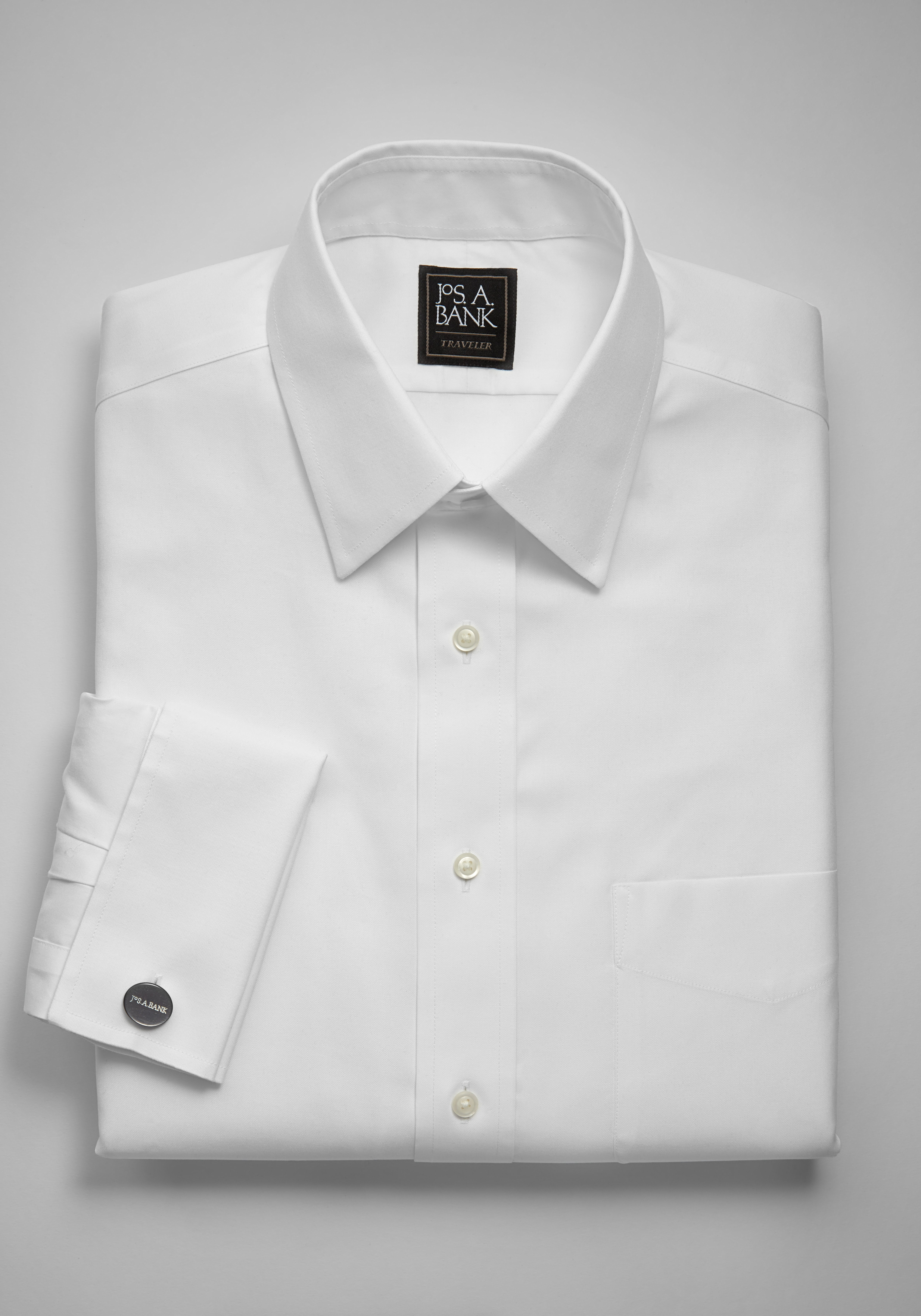 Mens 18 34//35 Jos A Bank Classic Fit Textured White French Cuff Cotton Tuxedo...