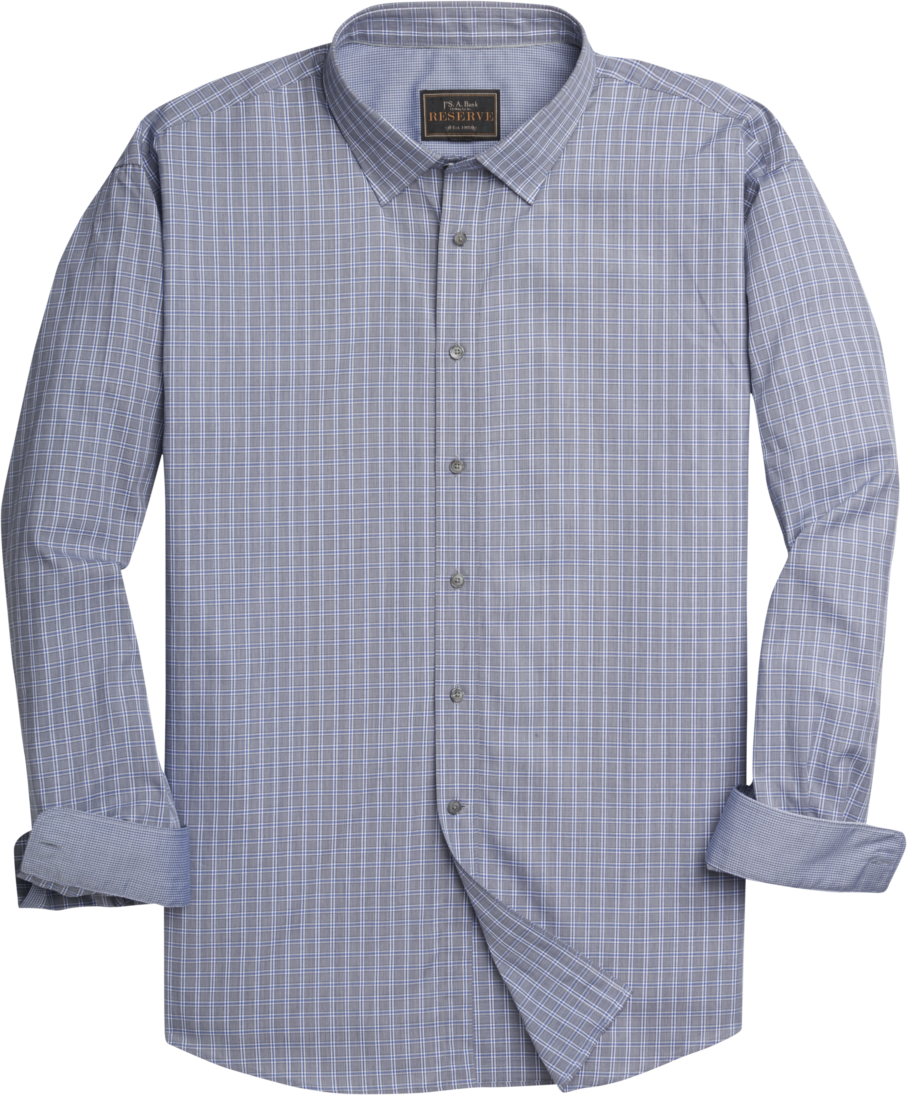 Reserve Collection Tailored Fit Spread Collar Windowpane Sportshirt