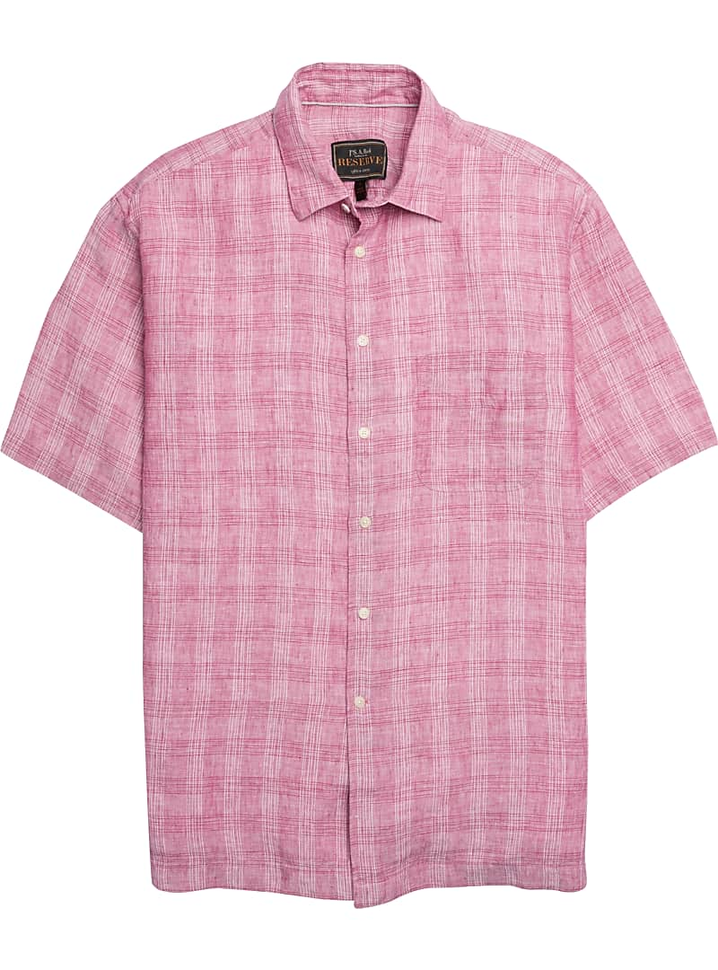 Reserve Collection Traditional Fit Short-Sleeve Plaid Campshirt