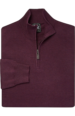 Men's Sweaters, Traveler Collection Mock Neck Cotton Quarter-Zip Sweater - Jos A Bank