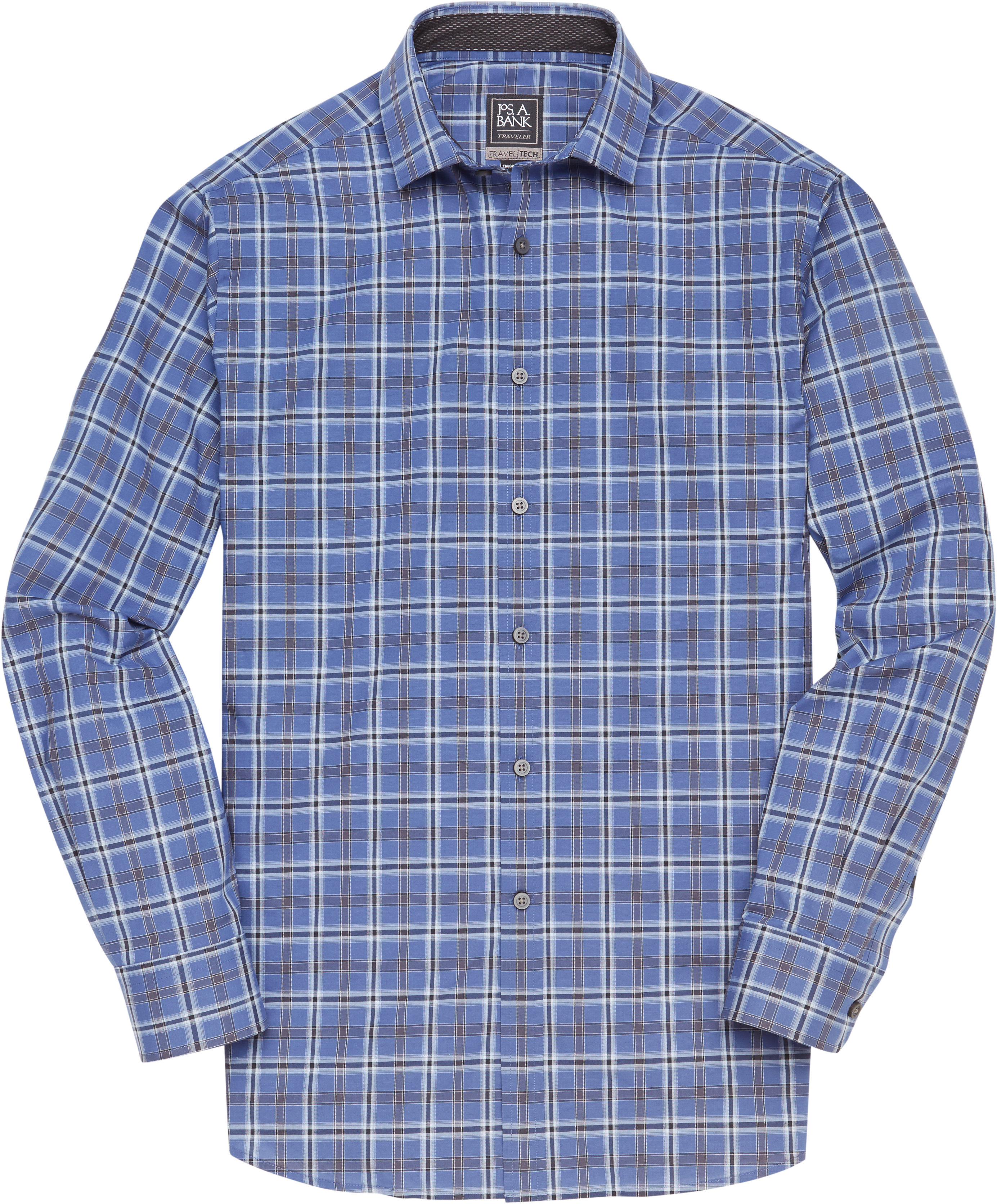 Travel Tech Traditional Spread Collar Plaid Sportshirt (Big & Tall,Blue)