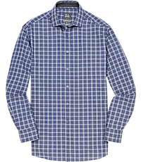 Travel Tech Tailored Fit Spread Collar Plaid Sportshirt