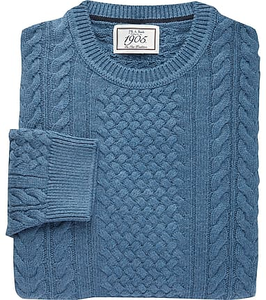 0a30bdbbc Reserve Collection Tailored Fit Cotton Blend Cable Knit V-Neck Sweater  CLEARANCE