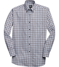 Traveler Collection Traditional Fit Button-Down Collar Plaid Sportshirt (Brown)