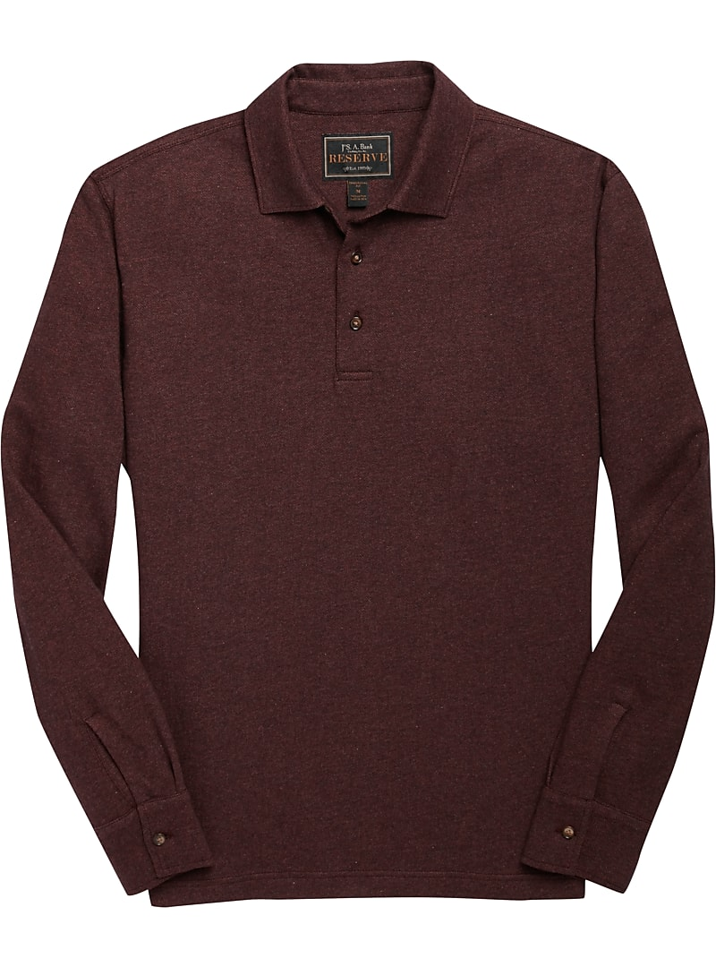 Reserve Collection Herringbone Long Sleeve Polo T-Shirt