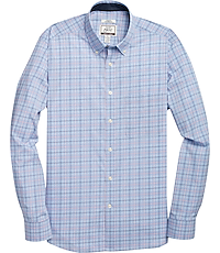 1905 Collection Tailored Fit Long Sleeve Button-Down Collar Plaid  Sportshirt with brrr° comfort