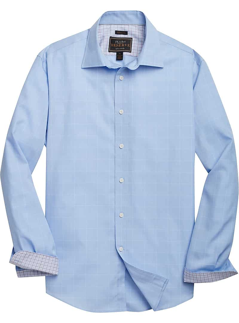 Jos. A. Bank Men's Reserve Collection Tailored Fit Long Sleeve Sportshirt (Light Blue)